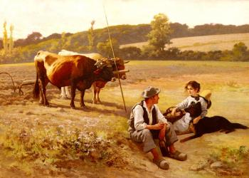 Edouard Bernard Debat-Ponsan : Rest In The Fields